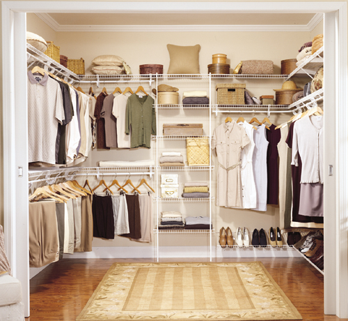 closetmaid walk in wardrobe packages clothes storage. Black Bedroom Furniture Sets. Home Design Ideas